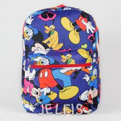 """Jelfis.com - Mickey Mouse and Friends 16"""" Large Blue School Backpack for Kids or Adults, $20.95 (http://www.jelfis.com/mickey-mouse-and-friends-16-large-blue-school-backpack-for-kids-or-adults/)"""