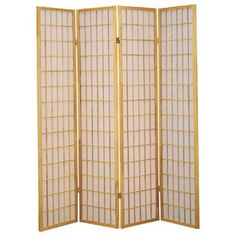 Shoji 4 Panel Screen - Screen Gems Gems Shoji 4 Panel Screen Natural/Brown is designed with traditional Japanese influence yet suitable for any modern room settings and decor. Shoji paper is opaque to provide complete Portable Room Dividers, Wooden Room Dividers, Folding Room Dividers, 4 Panel Room Divider, Shoji Screen, Milton Greene, Natural Brown, Natural Wood, Tans