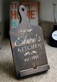 Handmade iPad Stand in Dark Brown Kitchen Cookbook Holder Combo, Rustic Wood, Cutting Board Style Tablet Holder