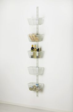 "Conquer your pantry! For the smallest spaces: ALGOT wall mounted storage fits in less than 12"" of wall space."
