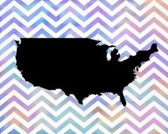 Watercolor Chevron United States of America Map. Instant Download Art Print Poster. Bright and Modern. Frame for an Affordable and Easy DIY Gift. All State Maps are Available in this Colorful Chevron Design.