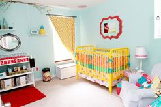 Teal, red, yellow (and grey). teal crib, yellow and grey walls, red accents