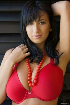 Jana Defi - red smooth bra and beads