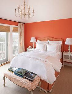Suzie: Jennifer Flanders Interior Design - Orange bedroom design with orange walls bamboo roman Orange Rooms, Bedroom Orange, Orange Walls, Coral Walls, Coral Bedroom, Bright Walls, Interior Design New York, Residential Interior Design, Home Bedroom