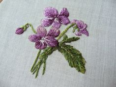 embroidered violets - Google Search