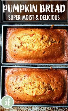 Super Moist and Delicious Pumpkin Bread this is a longtime family favorite a recipe my mother has been making for decades Its made with oil as opposed to butter and the. Homemade Desserts, Köstliche Desserts, Delicious Desserts, Dessert Recipes, Bread Recipes, Baking Recipes, Moist Bread Recipe, Moist Pumpkin Bread, Recipe For Pumpkin Bread