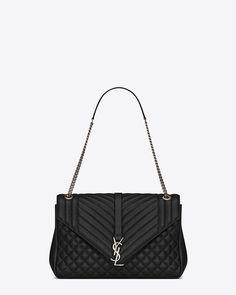 1483b5a45d grand soft enveloppe en cuir mix matelassé noir. Sacs Yves Saint LaurentSacs  ...