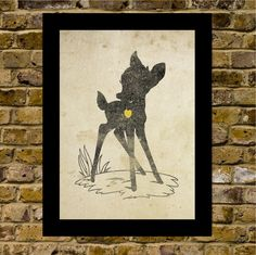 Bambi Inspired Silhouette 5X7 Art Print by WITHHEARTSTUDIOS, $15.00