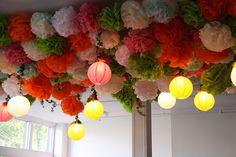 Lanterns and Pom Poms #wedding