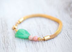 NEW Collection Green Jade and pink opal Beads on Gold Mesh Cord Bracelet by pardes israel