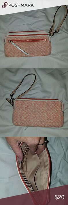 Pink Coach Wristlet Excellent condition minus a little dirty on one corner shown in pic.  Inside looks new.  Zippers work great. 8 x 4.5. Coach Bags Clutches & Wristlets