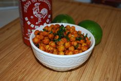 Roasted Sriracha ChickPeas, just tried these and they were really good!