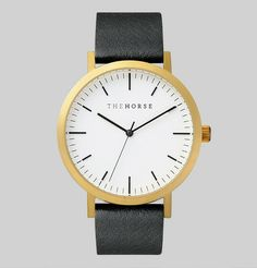 Brushed Gold / Black Leather | The Horse