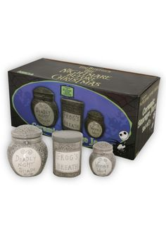 Keep your ''Deadly Night Shade,'' ''Frog's Breath'' and ''Worm's Wort'' safe and handy within these three grey ceramic jars. 4 1/2'' circumference. 3 3/4'' circumference. 2 1/2'' circumference. Imported.