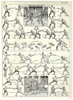 FENCING - Vintage French Larousse Dictionary poster 1930. $24.00, via Etsy.