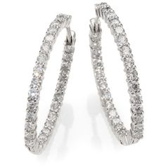 Roberto Coin Diamond & 18K White Gold Hoop Earrings- 1.2in (€6.120) ❤ liked on Polyvore featuring jewelry, earrings, silver, hinged hoop earrings, white gold earrings, white gold jewelry, diamond fine jewelry and hinged earrings