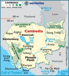 Cambodia large color map