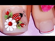 Decoración de uñas mariquita🐞 y margarita🌼/Diseño de uñas mariquita/uñas decoradas con margarita - YouTube Toe Nail Flower Designs, Nail Polish Designs, Nail Art Designs, Gel Toe Nails, Toe Nail Art, Manicure And Pedicure, Pretty Toe Nails, Love Nails, Fun Nails