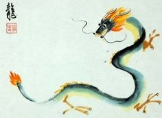 FRAMED CHINESE ZODIAC WATERCOLOR ART Dragon Painting