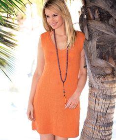 Оранжевое платье А-силуэта - схема вязания спицами. Вяжем Платья на Verena.ru