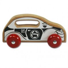 Handeez Police Car - Wooden Toys Made in the USA. Get a handle on safe & creative play! Wood Kids Toys, Safe Creative, Making Wooden Toys, Pull Toy, Mini Me, Police Cars, Toddler Toys, American Made, Fun