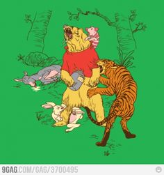 Funny pictures about Winnie The Pooh gets real. Oh, and cool pics about Winnie The Pooh gets real. Also, Winnie The Pooh gets real photos. Funny Jokes, Hilarious, It's Funny, Bear Print, Pooh Bear, Eeyore, Tigger, Illustrations, Look At You