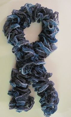 Hand Knit Lacy Ruffled Scarf Midnight Blue Shimmer  by cshort0319, $15.99
