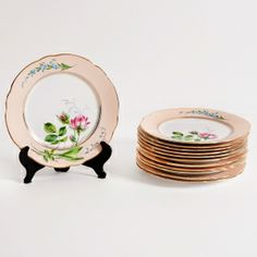Set of Twelve Porcelain Plates with Gilt Edge by Gunnar Wennerberg, c. 1900