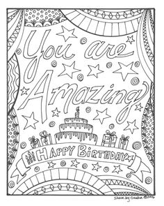 125 best Happy birthday coloring pages images on Pinterest | Adult ...