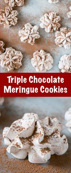 These Triple Chocolate Meringue Cookies are light, marshmallowy centred, have a crunch from the cocoa nibs, and all around perfect treat!