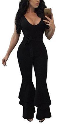 7bb93287e8c Pamelas Women s Sexy Belted Long Zipper Pure Color Deep V Neck Sleeveless  Jumpsuits Romper Bell Bottom