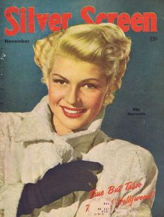 Rita Hayworth on the cover of Silver Screen magazine, November 1948, USA.