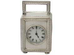 Antique Edwardian Sterling Silver Boudoir Clock