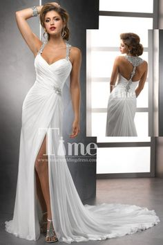 Sexy A-line Halter With T-Strap Back Beaded Chiffon Beach Wedding Dresses/Bridal Gowns 2014 New Arrival WD143216 : timeweddingdress.com