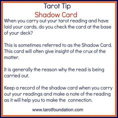 Tarot Tip - Shadow Card More