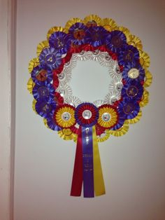 Just made this wreath using horse show ribbons!