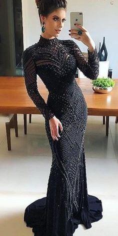 Black Luxury Beaded Long Sleeve Mermaid Open-Back Prom Dress, FC1716