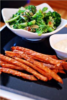 Roasted Broccoli and Sweet Potato fries