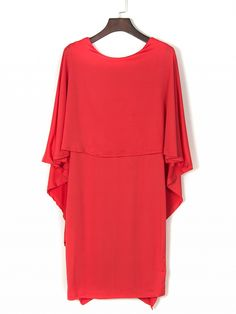 Red Ruffle Cape Detail Backless Dress Dresses #Tops #Swimwear #Jeans #Jackets #Skirts #Shoes
