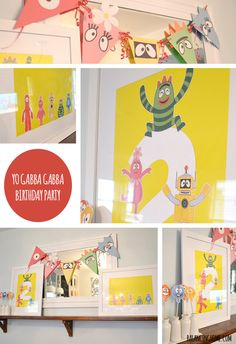 simple and affordable Yo Gabba Gabba Birthday decorations using construction paper, free printables and wrapping paper.