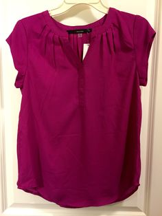 Fun2Fun Walden V-neck blouse (size small, fit is slightly loose, fuschia. hand wash.)