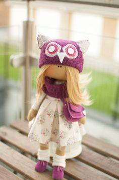 RESERVE. Cloth doll, rag doll, owl girl, white, pink dress, present for a girl, birthday present, handmade doll