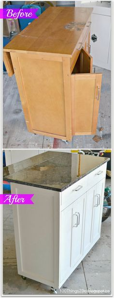 Before and After - Portable Kitchen Island.  Kitchen cart makeover. Faux granite makeover.