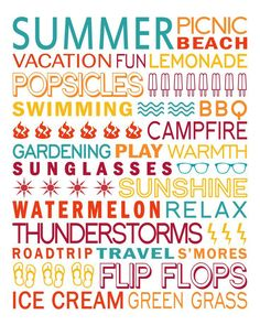 Ideas Quotes Summer Holiday Subway Art For 2019 Scrapbook Titles, Scrapbook Templates, Scrapbook Sketches, Word Collage, Word Art, Summer Subway Art, Summer Words, Free Printable Art, Free Printables
