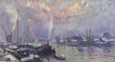 Robert Antoine Pinchon - Péniches sur la Seine en hiver