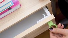 cool way to keep kids out or just to keep your stuff safe.  the latch remains hidden and your magnet key opens it when you need it!