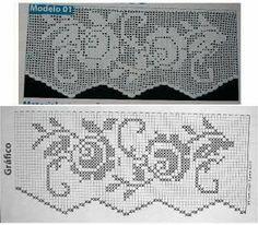 ViVENDO COM ARTE: Barrado de toalha com rosas Crochet Borders, Crochet Diagram, Crochet Chart, Filet Crochet, Crochet Motif, Crochet Doilies, Crochet Stitches, Crochet Hooks, Crochet Patterns