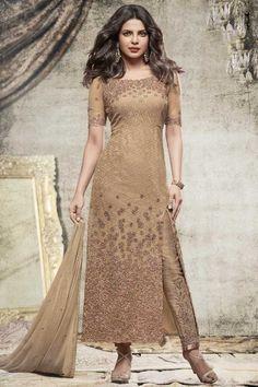 c15fe8ff5c Priyanka Chopra Bollywood Coffee Net Trouser Suit With Dupatta Online  http   www.