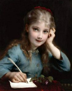 A Young Girl Writing A Letter -- Etienne Adolphe Piot (1850 – 1910, French)