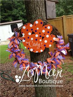 Clemson Wreath  Go Tigers by ZoMarBoutique on Etsy, $55.00